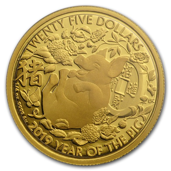 2019 Australia 1/4 oz Proof Gold Year of the Pig