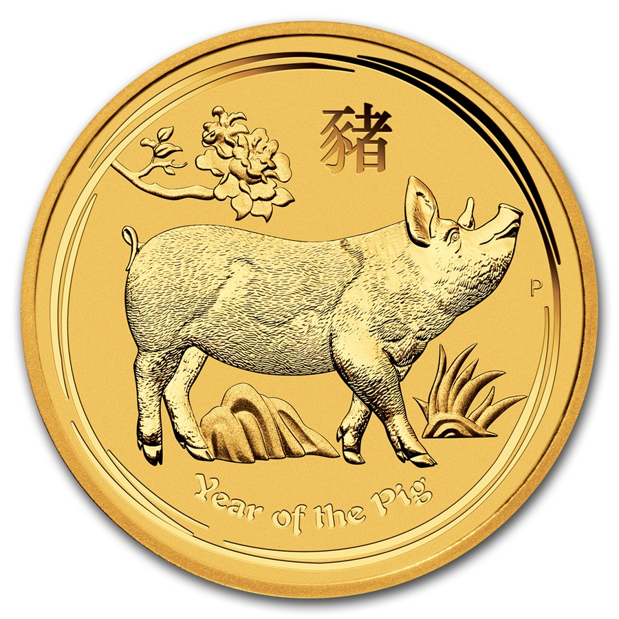 2019 Australia 1 kilo Gold Lunar Pig BU