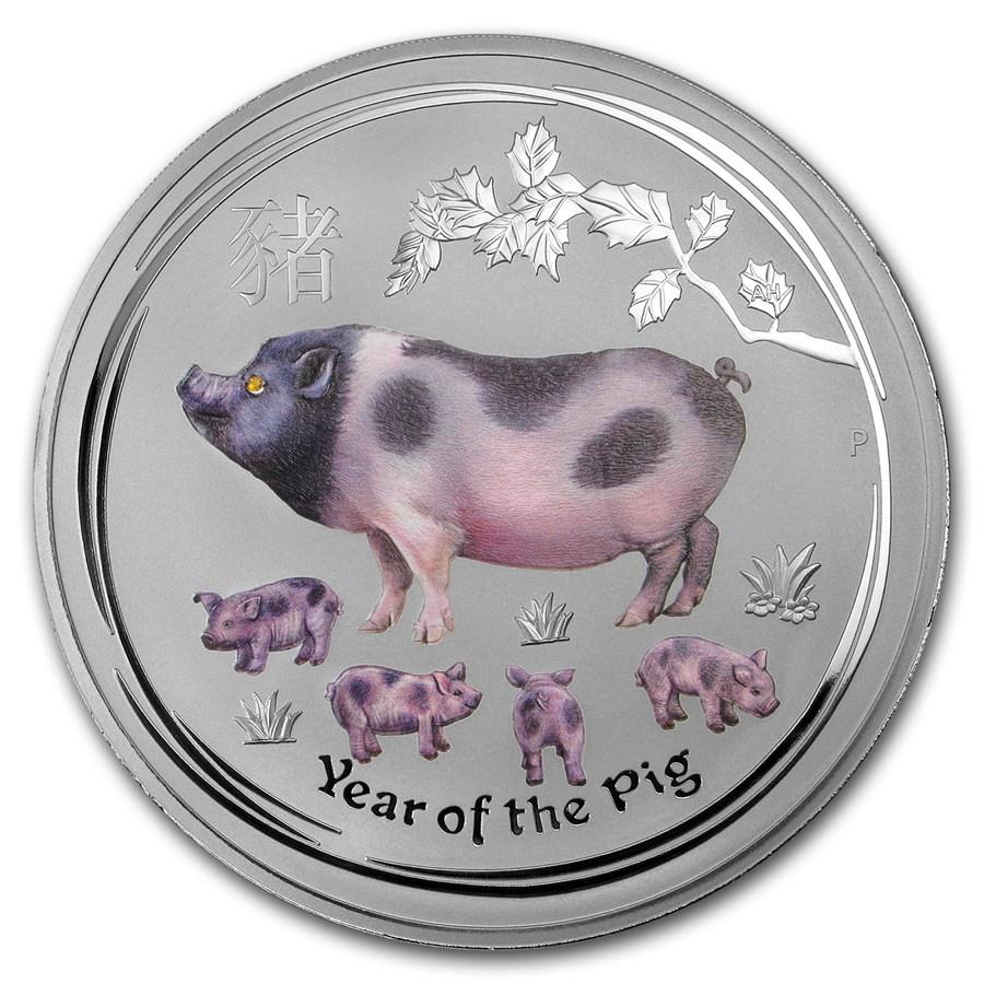 2019 Australia 1 kilo Silver Lunar Pig (Gemstone Eye)