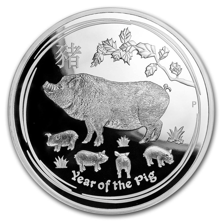 2019 Australia 1 kilo Silver Lunar Pig Proof (w/Box & COA)