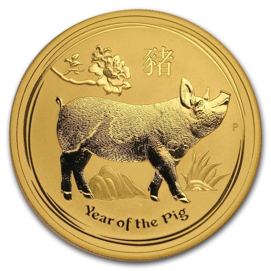 2019 Australia 1 oz Gold Lunar Pig BU (Series 2)