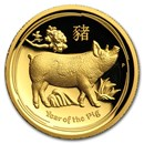 2019 Australia 1 oz Gold Lunar Pig Proof (HR, Box & COA)