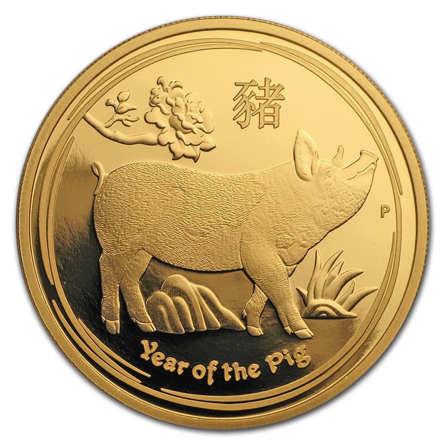 2019 Australia 1 oz Gold Lunar Pig Proof (w/box & COA)