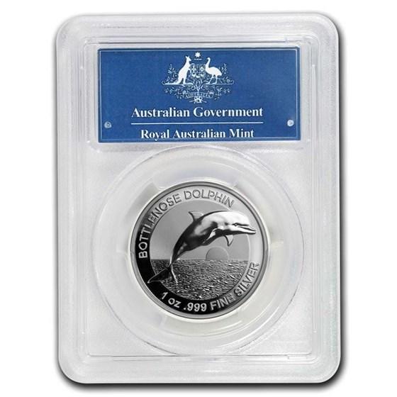 2019 Australia 1 oz Silver $5 Dolphin PR-70 PCGS (HR, First Day)
