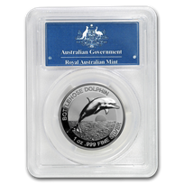 2019 Australia 1 oz Silver $5 Dolphin PR-70 PCGS (HR, FS)