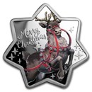 2019 Australia 1 oz Silver Christmas Reindeer (Star Shaped)