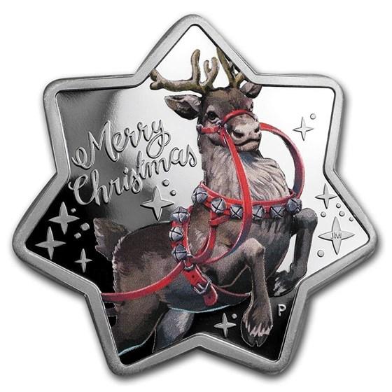 2019 Australia 1 oz Silver Christmas Reindeer (Star Shaped)