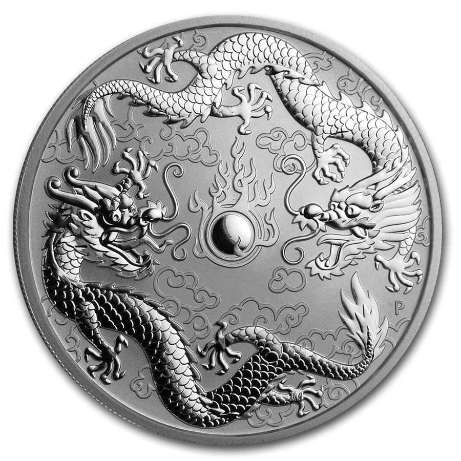 2019 Australia 1 oz Silver Double Dragon BU