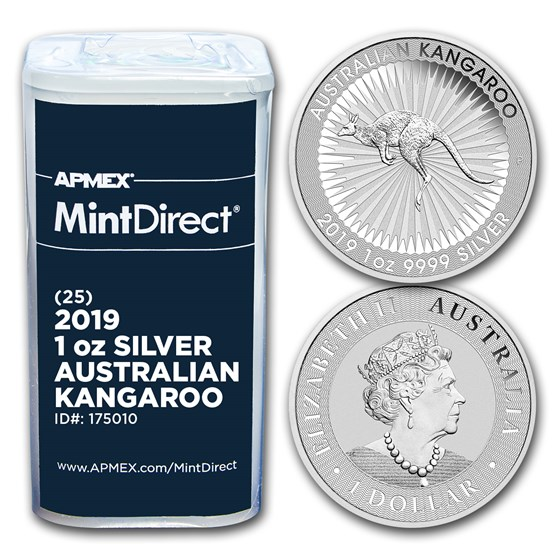 2019 Australia 1 oz Silver Kangaroo (25-Coin MintDirect® Tube)