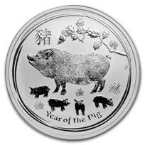 2019 Australia 1 oz Silver Lunar Pig BU (Series II)