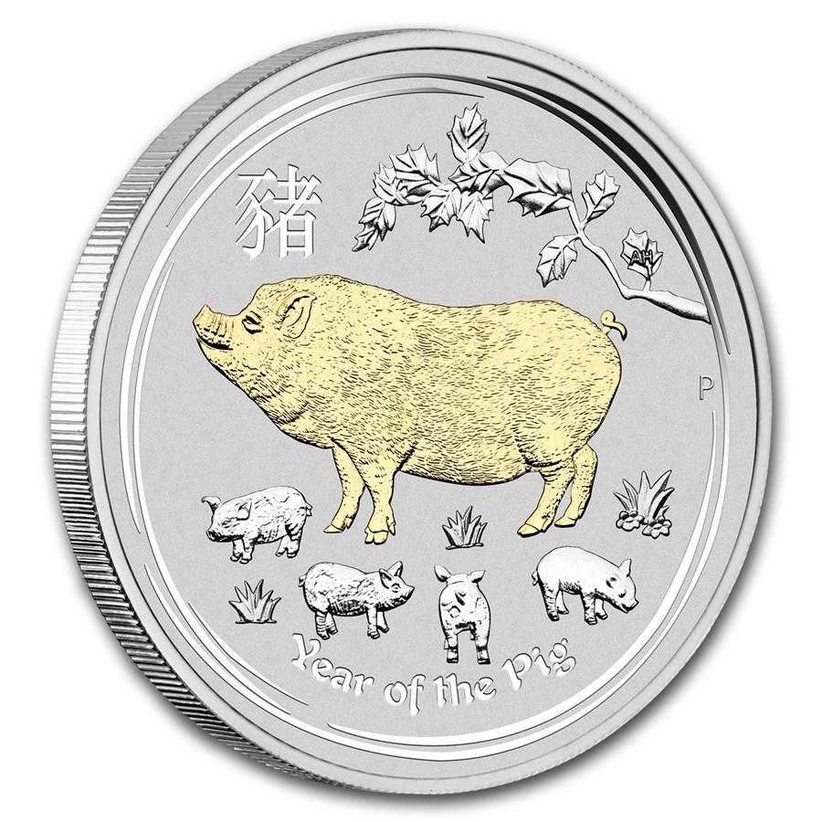 2019 Australia 1 oz Silver Lunar Pig (Gilded, w/Box & COA)