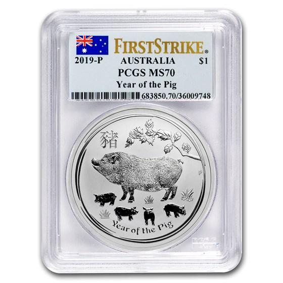 2019 Australia 1 oz Silver Lunar Pig MS-70 PCGS (FS)