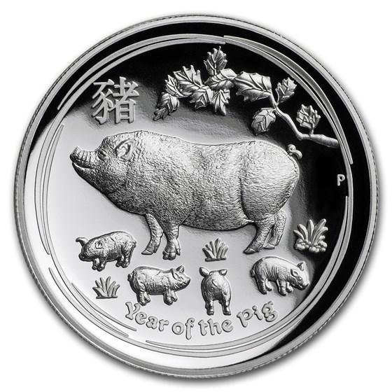 2019 Australia 1 oz Silver Lunar Pig Proof (HR, Box & COA)