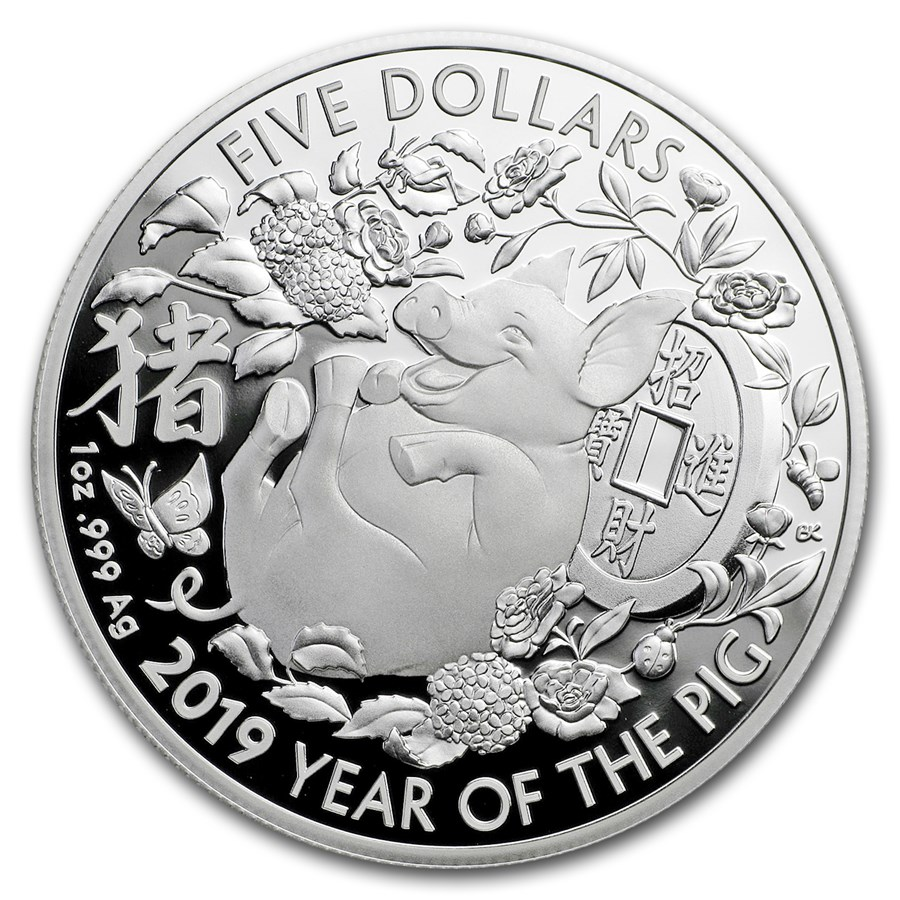 2019 Australia 1 oz Silver Year of the Pig Proof