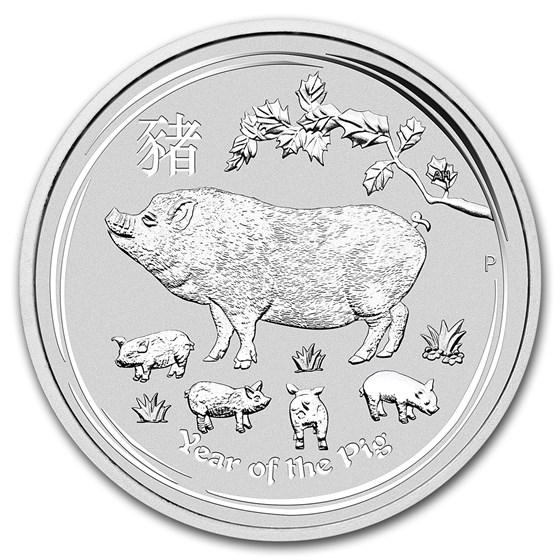 2019 Australia 10 kilo Silver Lunar Pig BU