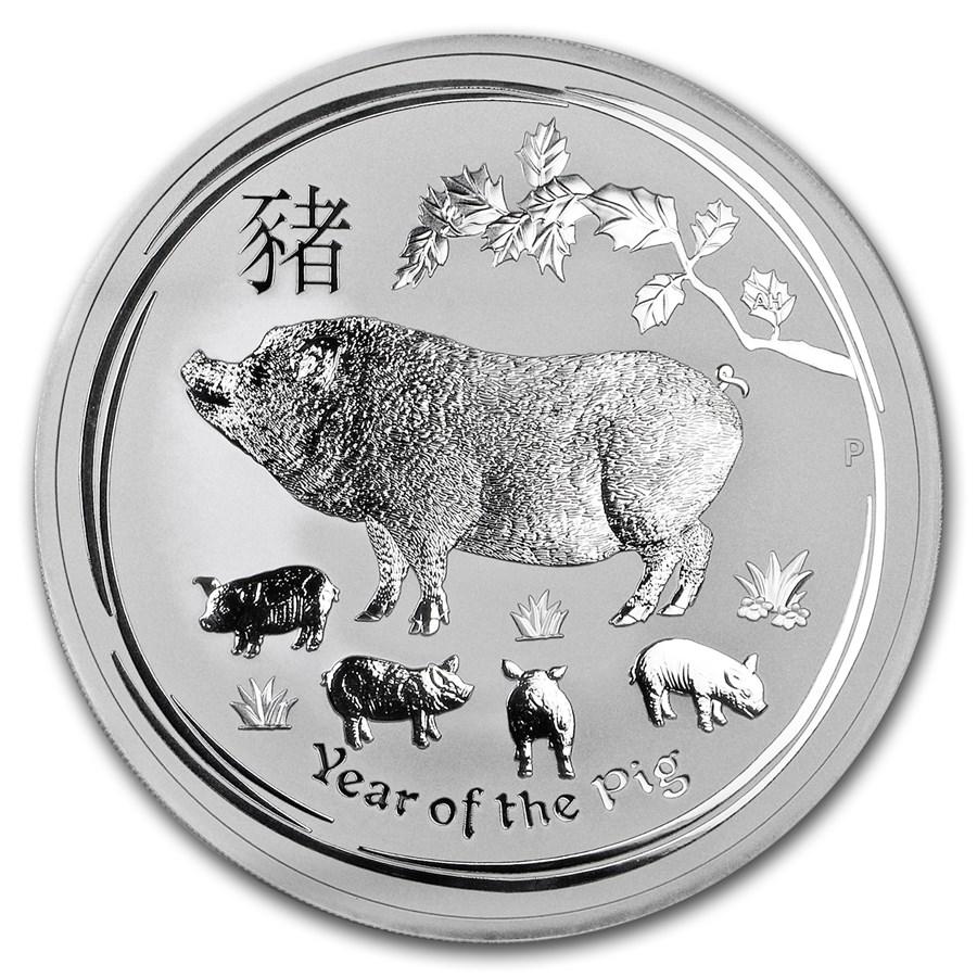 2019 Australia 10 oz Silver Lunar Pig BU
