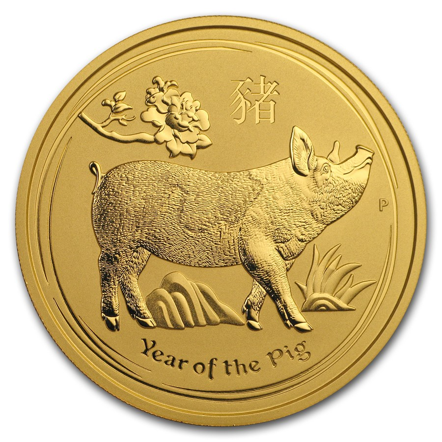 2019 Australia 2 oz Gold Lunar Pig BU