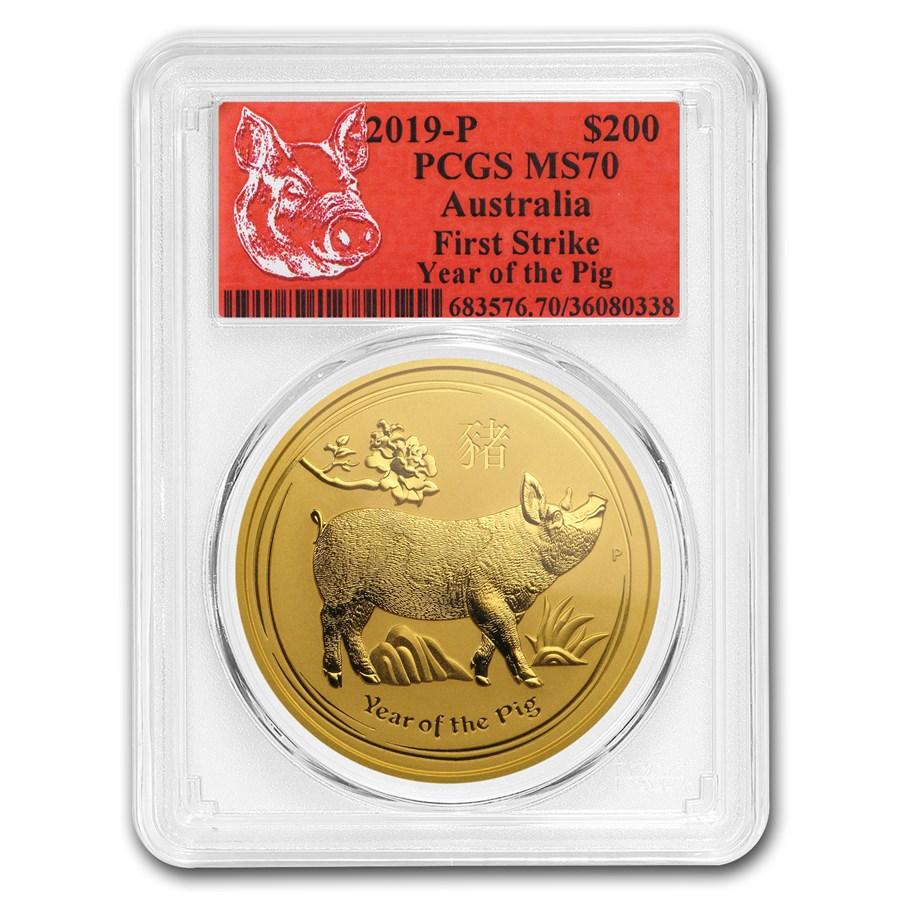 2019 Australia 2 oz Gold Lunar Pig MS-70 PCGS (FS, Red Label)