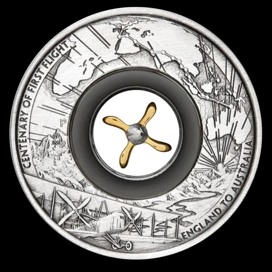 2019 Australia 2 oz Silver 100th Anniv of the First Flight Proof