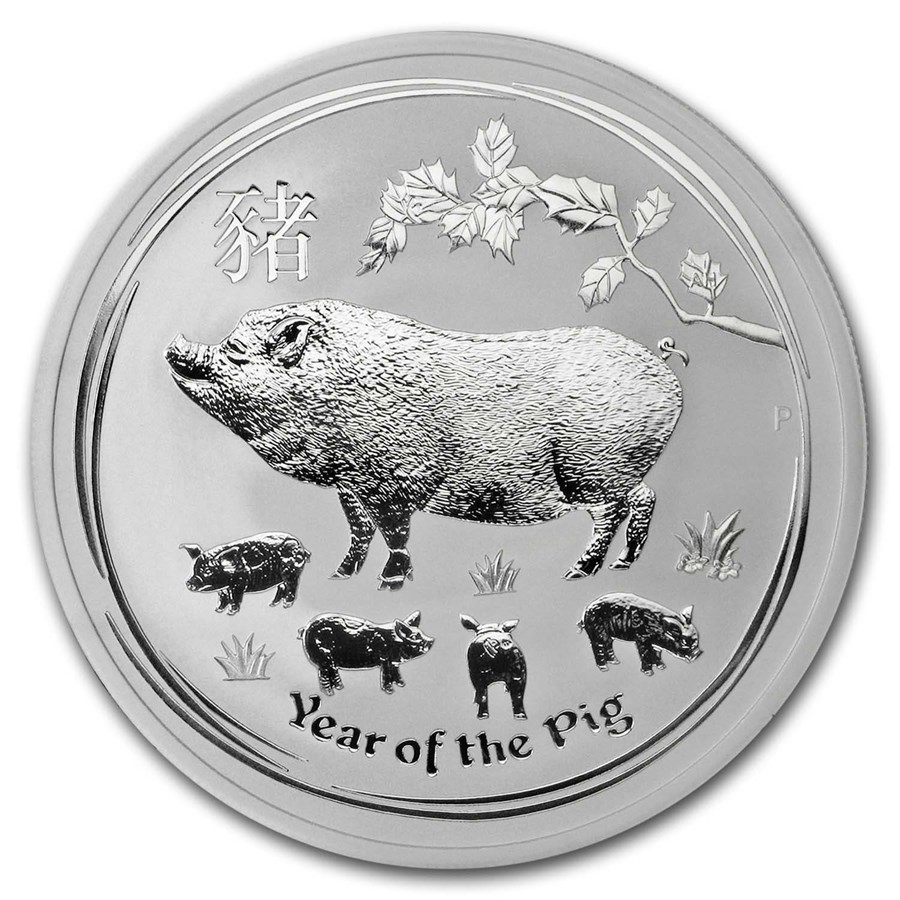 2019 Australia 2 oz Silver Lunar Pig BU