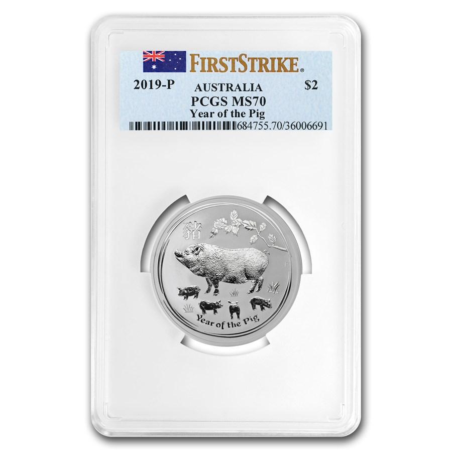 2019 Australia 2 oz Silver Lunar Pig MS-70 PCGS (FS)