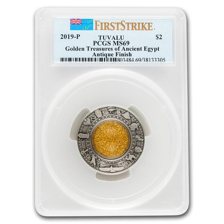 2019 Australia 2 oz Silver Treasures of Ancient Egypt MS-69 PCGS