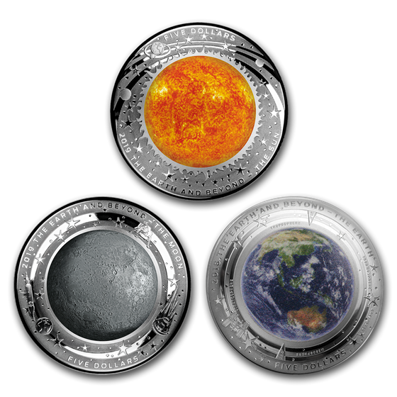 2019 Australia 3-Coin 1 oz Silver $5 Domed Earth and Beyond Set