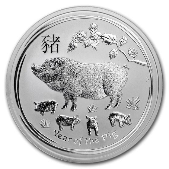 2019 Australia 5 oz Silver Lunar Pig BU