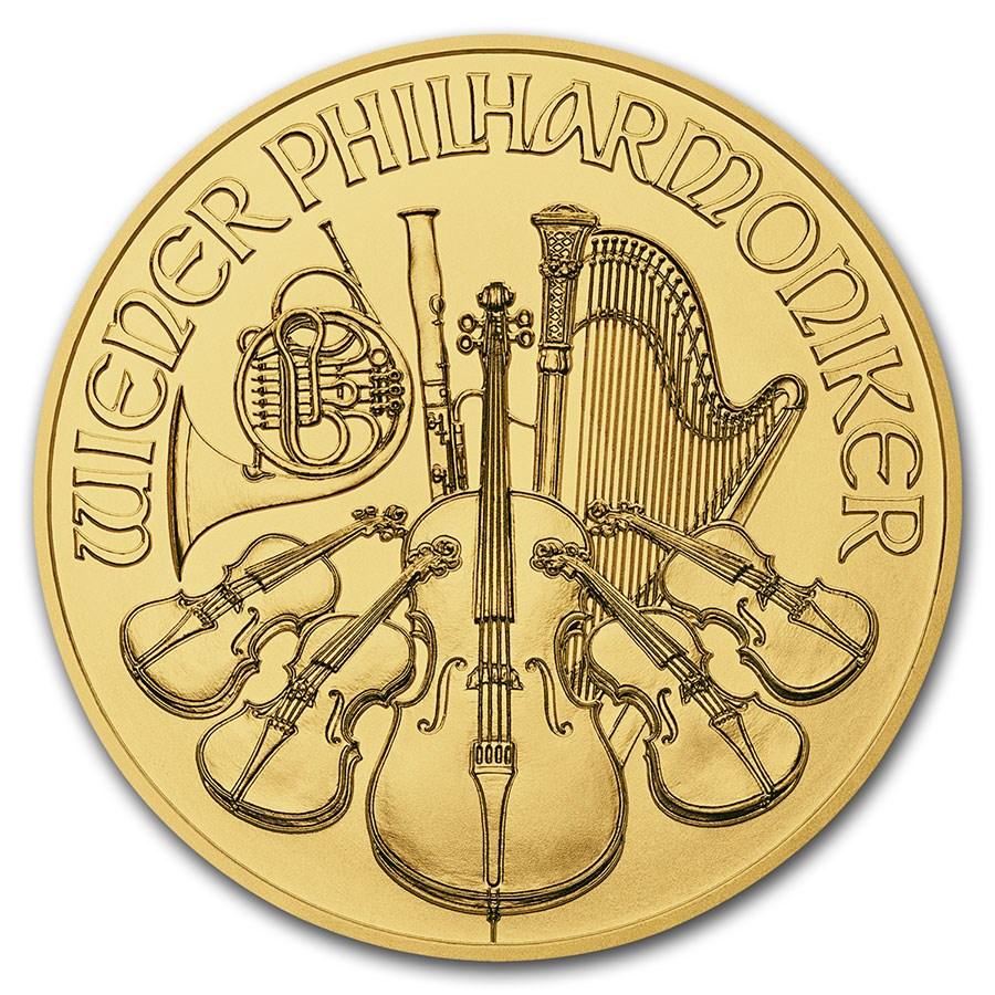 2019 Austria 1/25 oz Gold Philharmonic BU