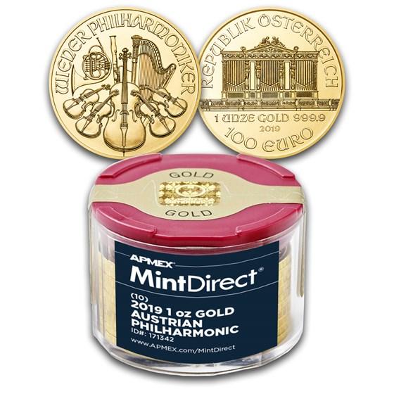 2019 Austria 1 oz Gold Philharmonic (10-Coin MintDirect® Tube)