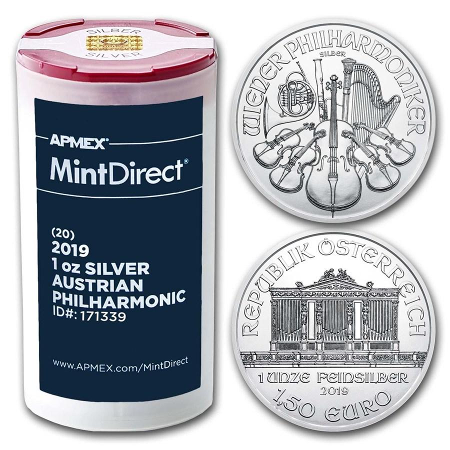2019 Austria 1 oz Silver Philharmonic (20-Coin MintDirect® Tube)