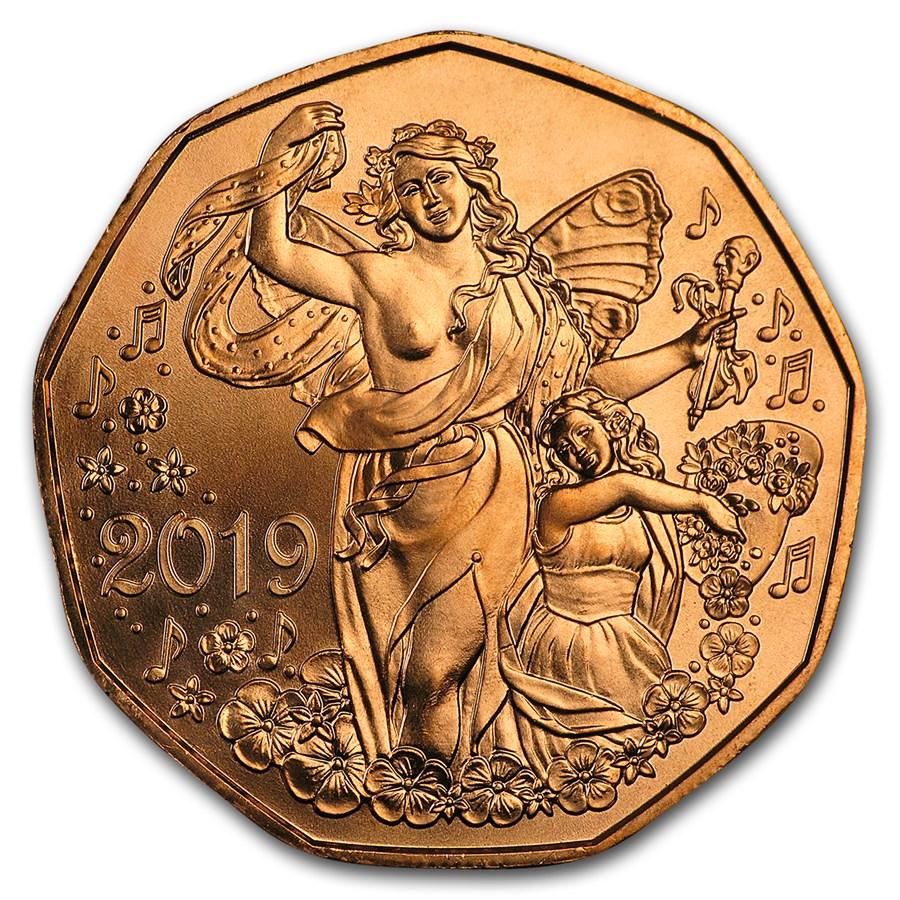2019 Austria Copper €5 New Year's Joy of Living