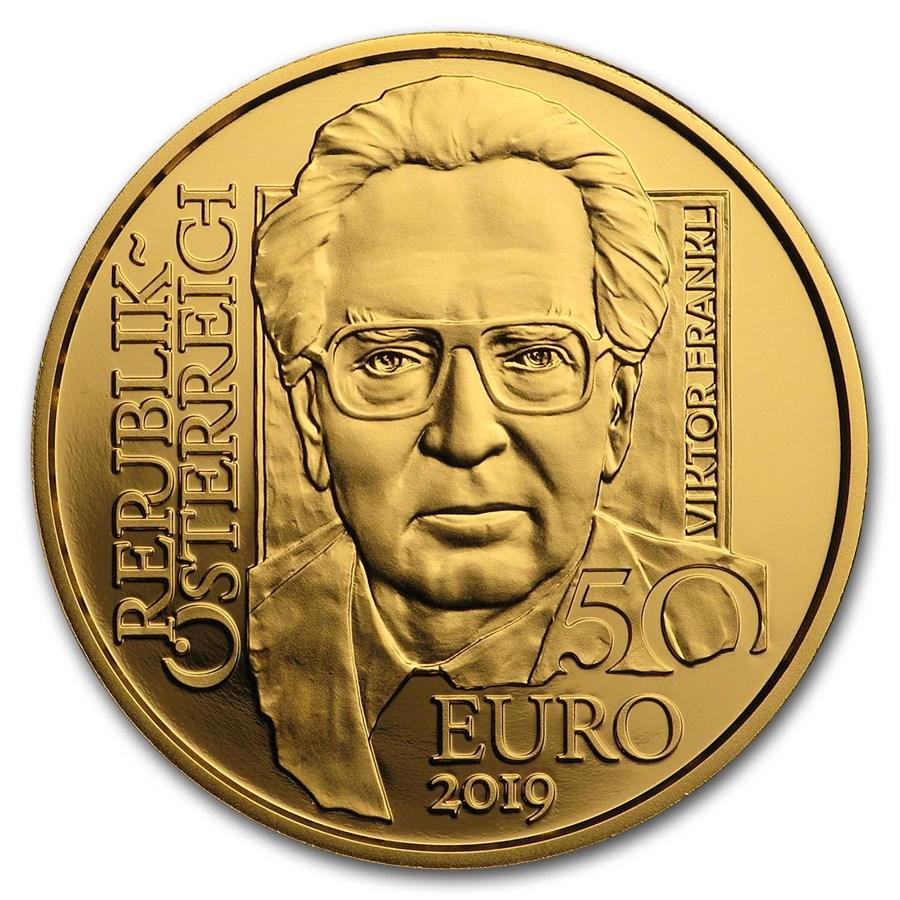 2019 Austria Gold Prf €50 School of Psychotherapy (Viktor Frankl)