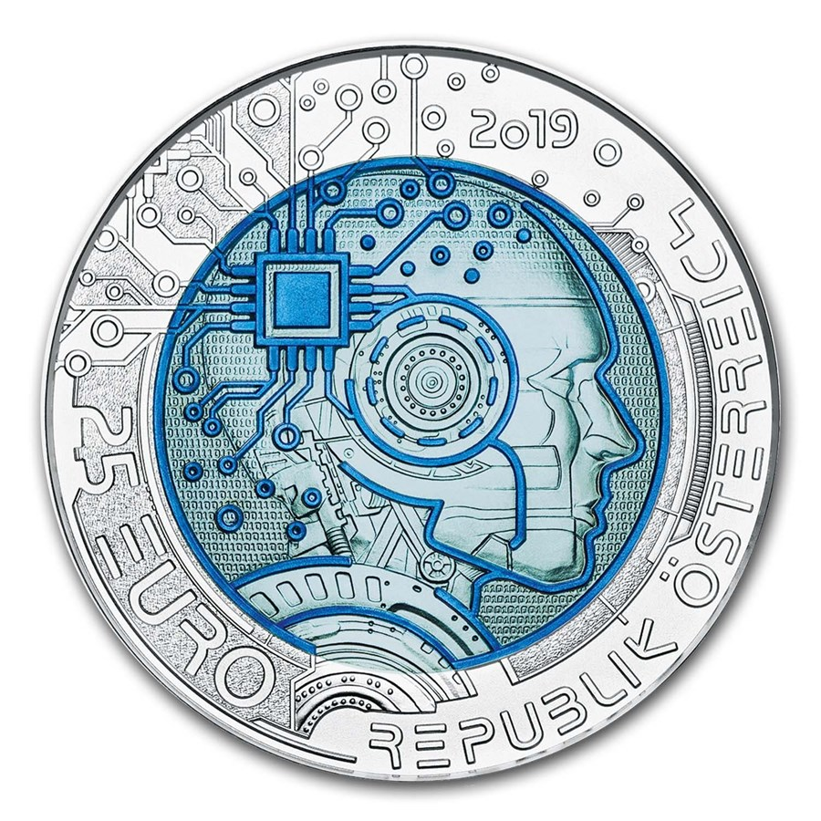 2019 Austria Silver/Niobium Artificial Intelligence €25 BU