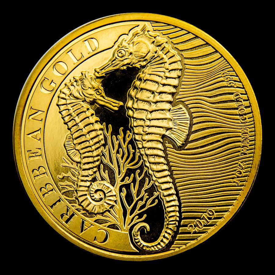 2019 Barbados 1 oz Gold Caribbean Seahorse BU