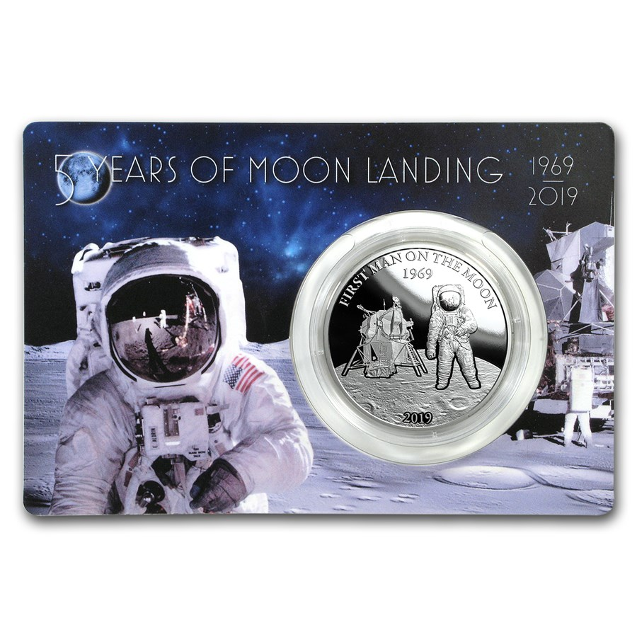 2019 Barbados 1 oz Silver First Man On The Moon Proof