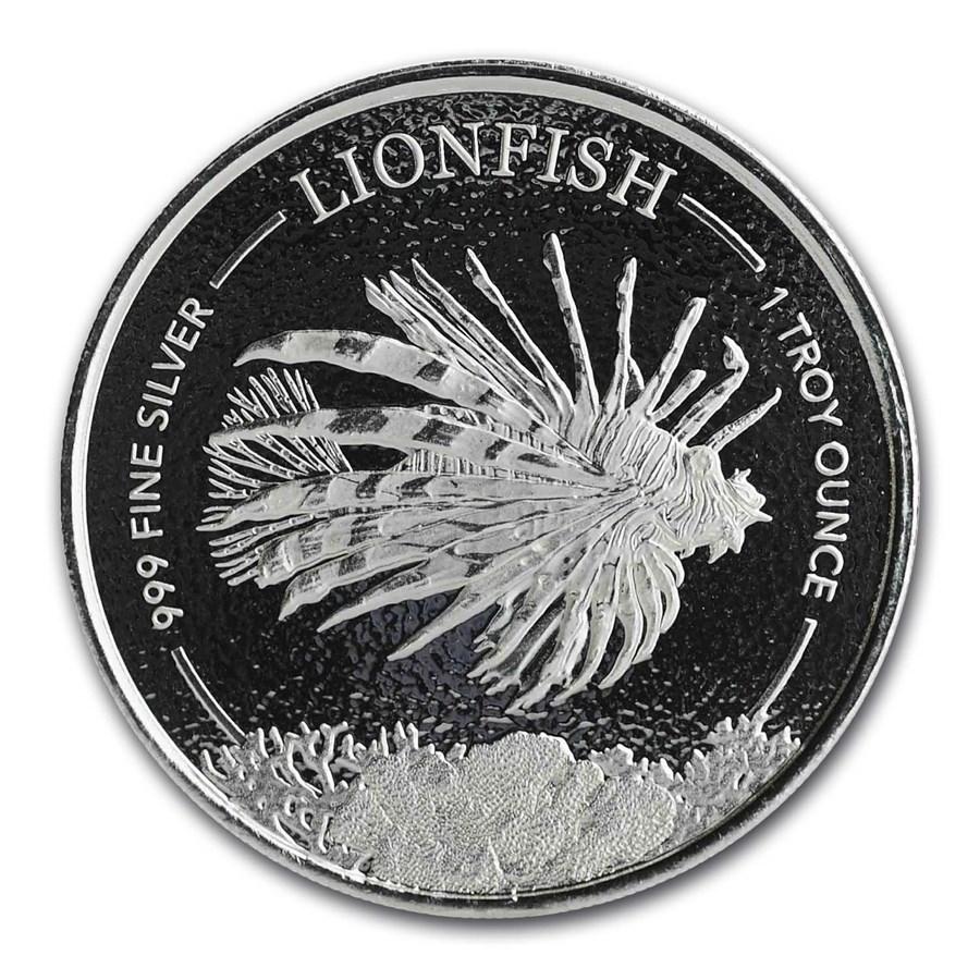 2019 Barbados 1 oz Silver Lionfish BU