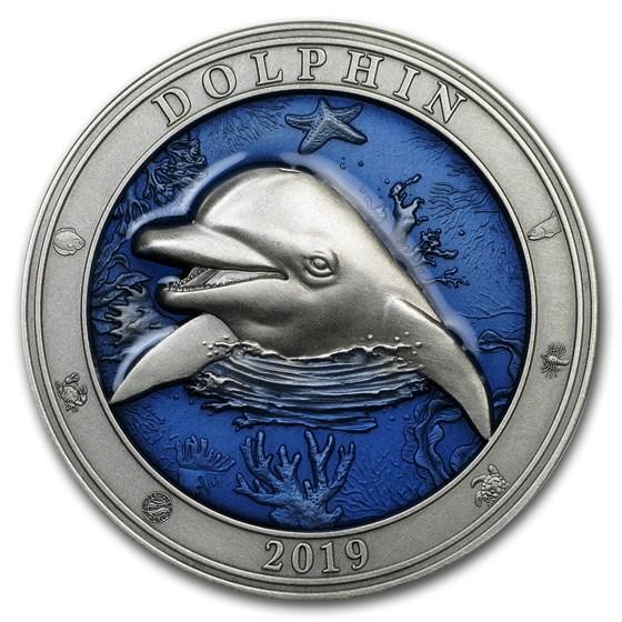 2019 Barbados 3 oz Silver Antique Underwater World (Dolphin)