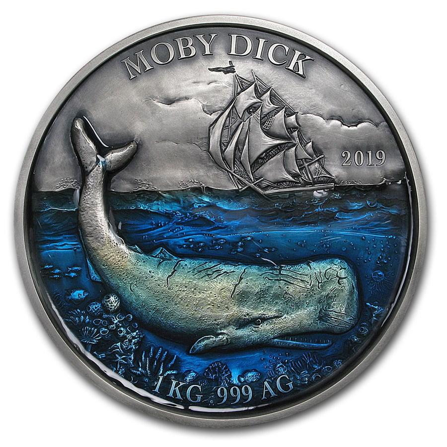2019 Benin 1 kilo Silver 10,000 Francs CFA Moby Dick BU