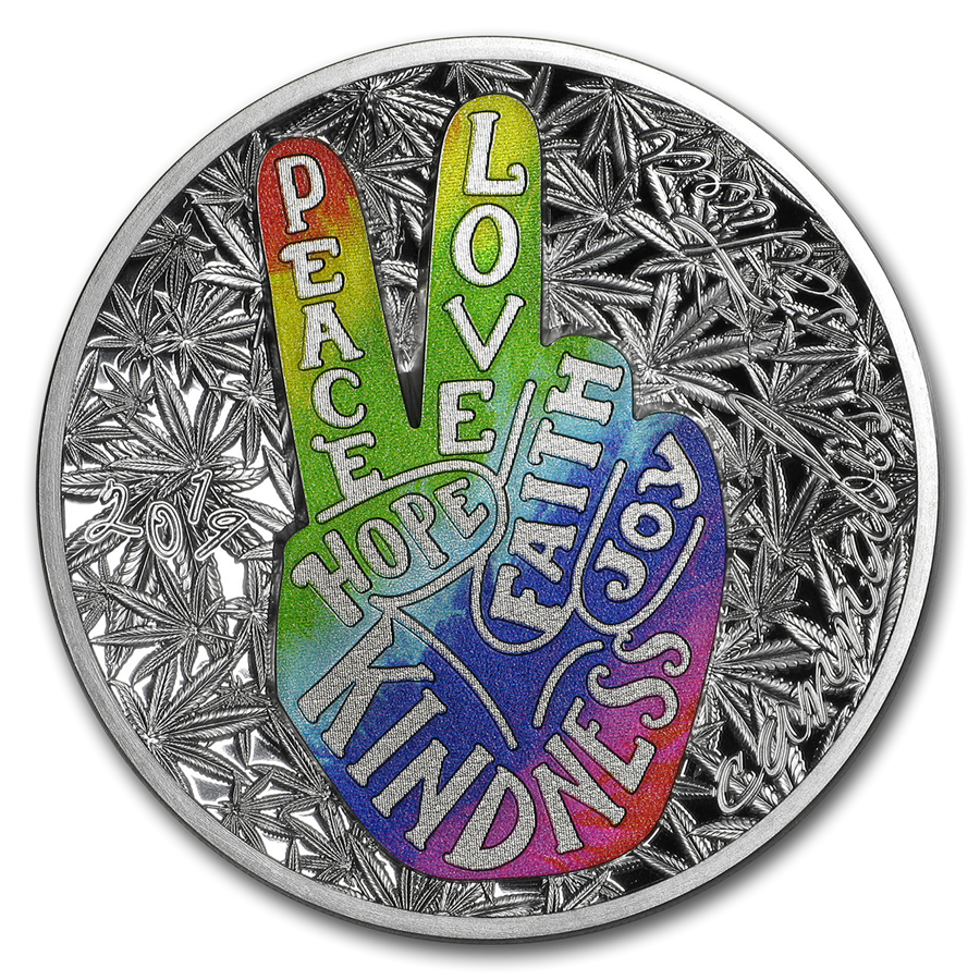 2019 Benin 1 oz Silver Peace and Love Proof
