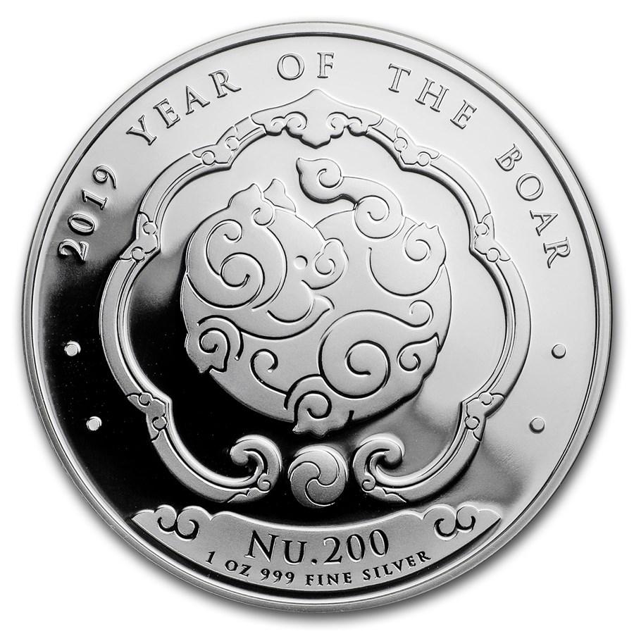 2019 Bhutan 1 oz Silver Lunar Boar BU
