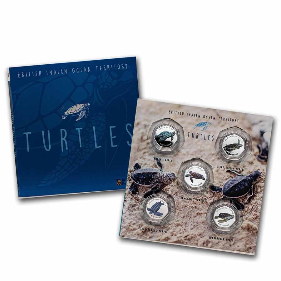 2019 BIOT Cupro-Nickel 50p Turtles 5-Coin Set: Collector's Album