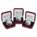 2019 BIOT Silver 3-Coin £2 WWII, 80th Anniv Set