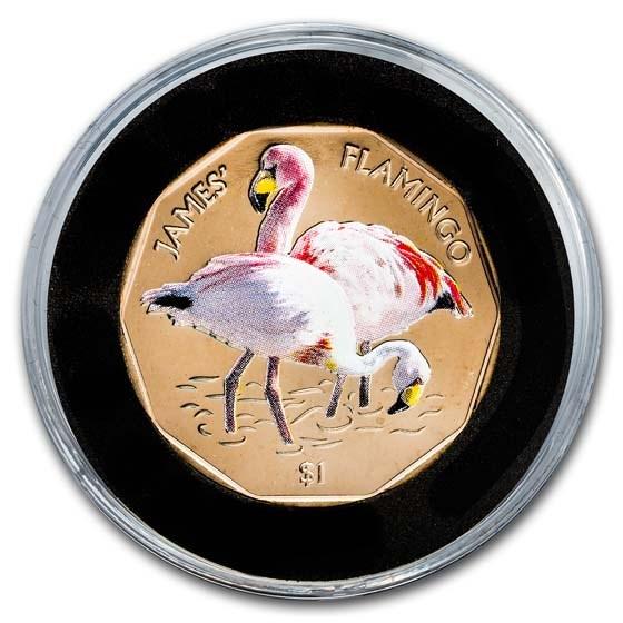 2019 British Virgin Islands Virenium $1 James's Flamingo