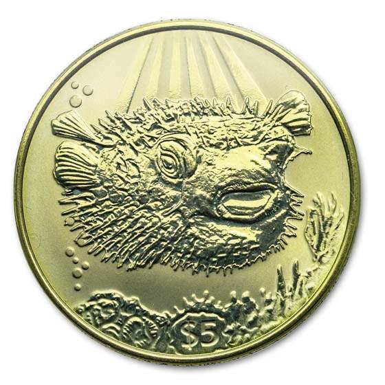 2019 British Virgin Islands Yellow Titanium $5 Porcupine Fish