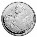 2019 BVI 2 oz Silver Pegasus Frosted (Abrasions, Spotted)