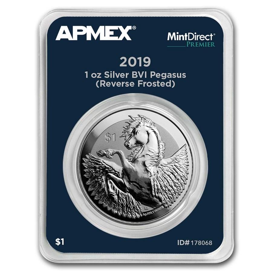 2019 BVI Silver 1 oz Pegasus Reverse Frosted (MD® Premier)