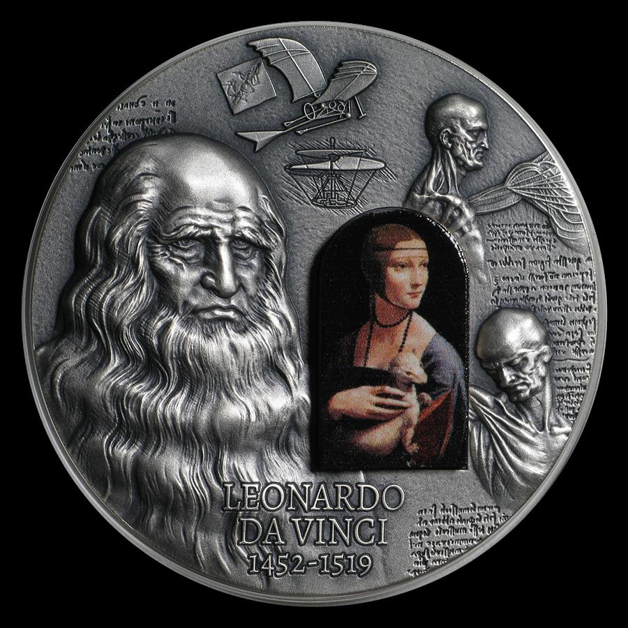 2019 Cameroon 2 oz Antique Silver 500th Anniv. Da Vinci's Death