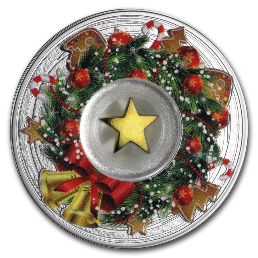 2019 Cameroon Silver Merry Christmas Wreath