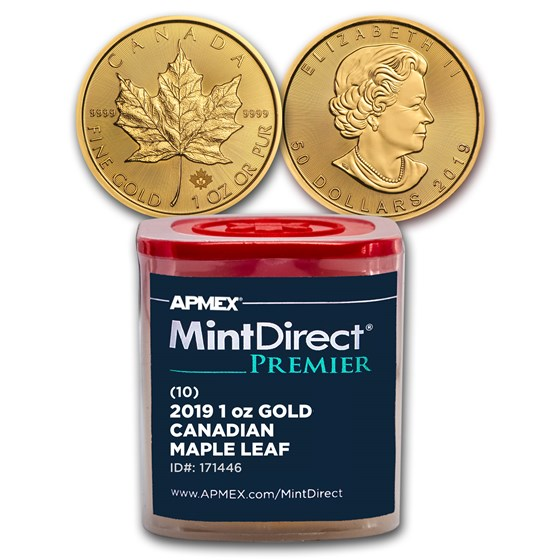2019 CAN 1 oz Gold Maple Leaf (10-Coin MintDirect® Premier Tube)